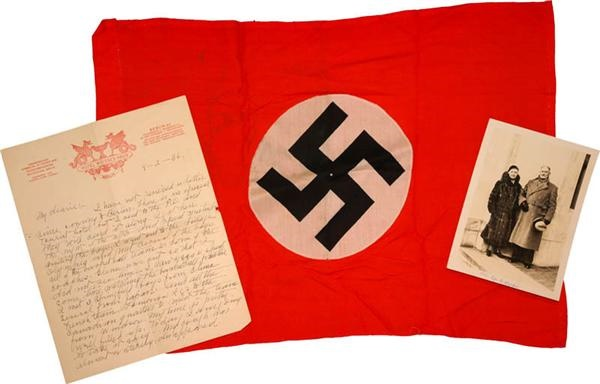 Dr. James Naismith 1936 Berlin Olympic Presentational Flag, Signed Handwritten Letter and Photograph