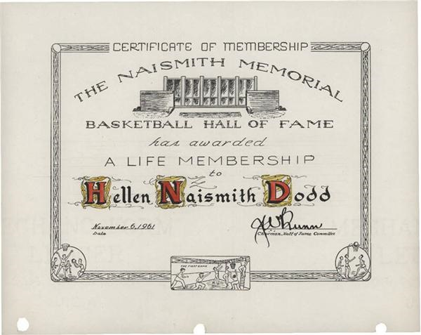 Basketball Hall of Fame Life Membership Certificate