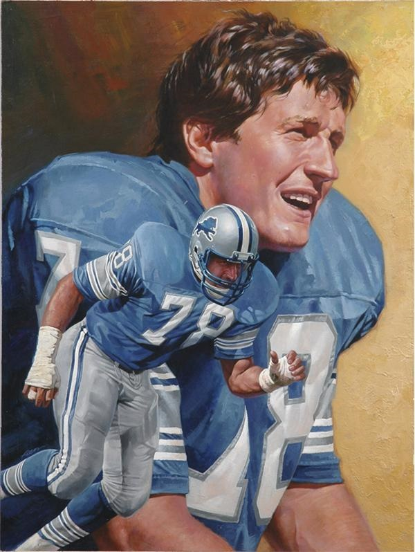 Detroit Lions Portrait Original Artwork for Pro Magazine by Chuck Ren