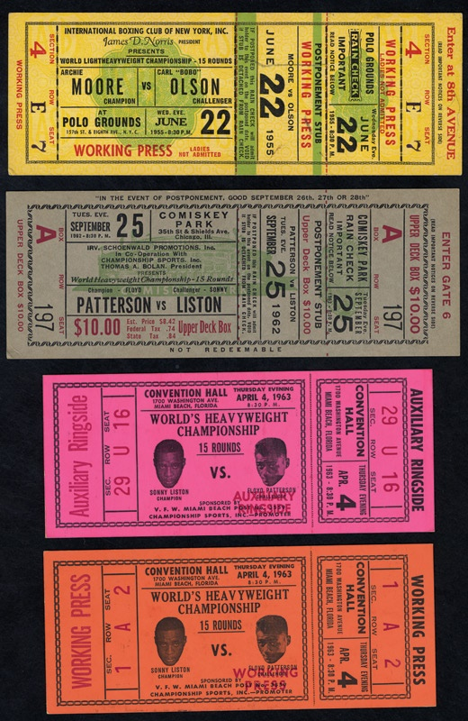 1950's-60's Boxing Full Ticket Collection of 13