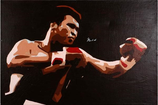 Muhammad Ali Signed Original Oil Painting by Maul