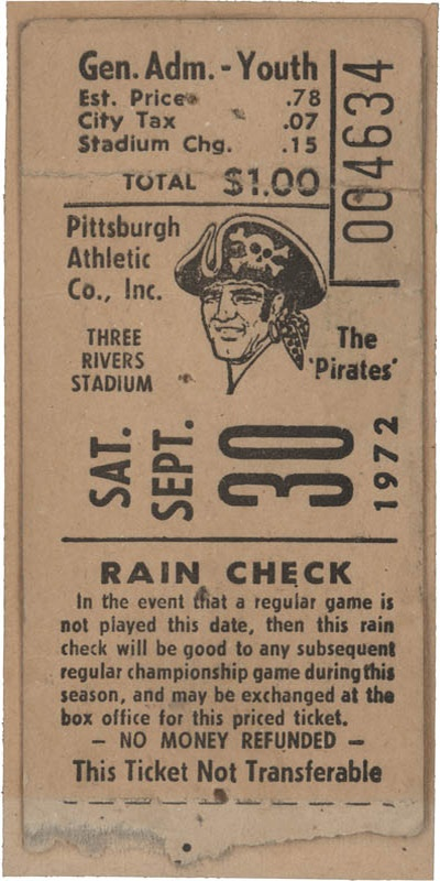 Roberto Clemente 3,000th Hit Ticket