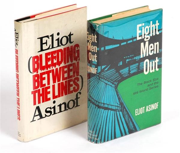 "Eliot Asinof Signed ""Eight Men Out"" and ""Bleeding Between the Lines"" 1st Editions (2)"