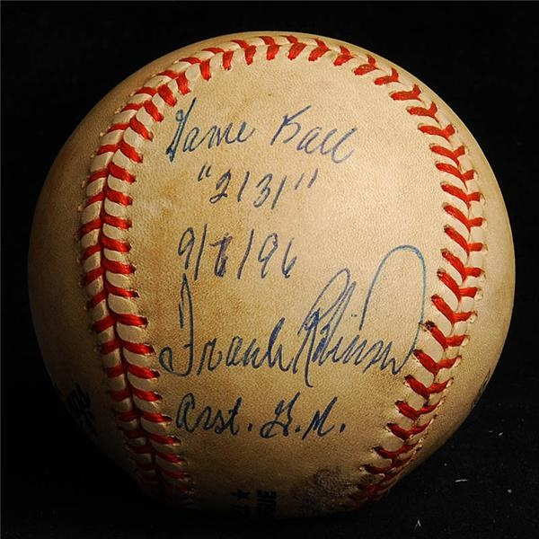 Cal Ripken 2131 Signed and Inscribed  Game Used Baseball by Frank Robinson