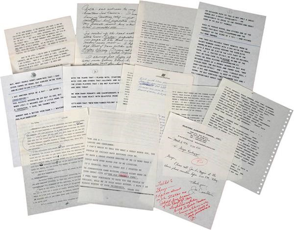 Joe DiMaggio Collection of Hand Written and Typed Speeches