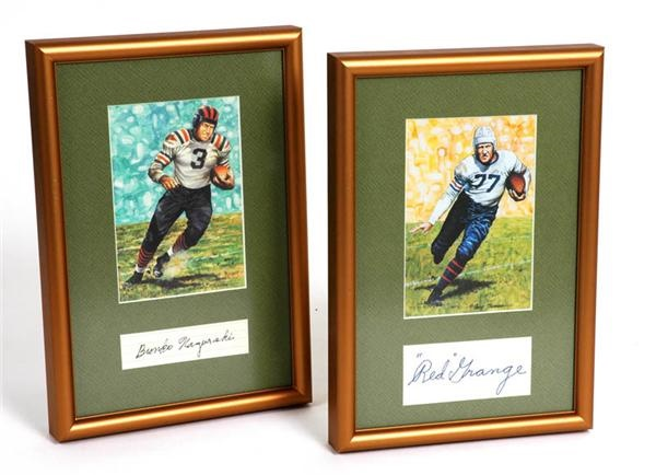 Bronko Nagurski and Red Grange Framed Signatures (2)
