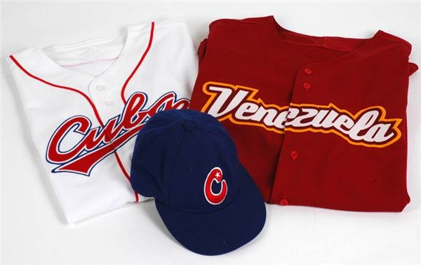 Game Issued World Baseball Classic Jerseys (2) and Hat