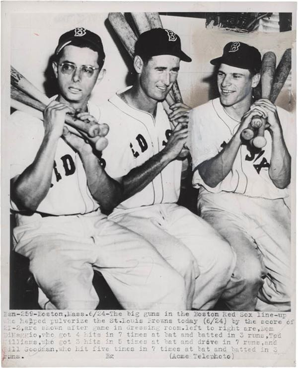 1949 Ted Williams and Dom Dimaggio Red Sox Wire Photo