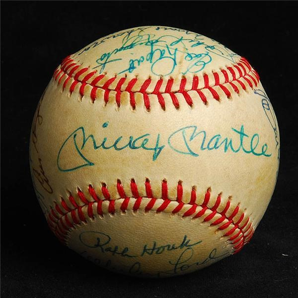 1953 New York Yankees Reunion Team Signed Baseball with Mantle