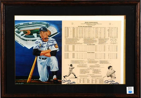 Mickey Mantle Triple Signed Print