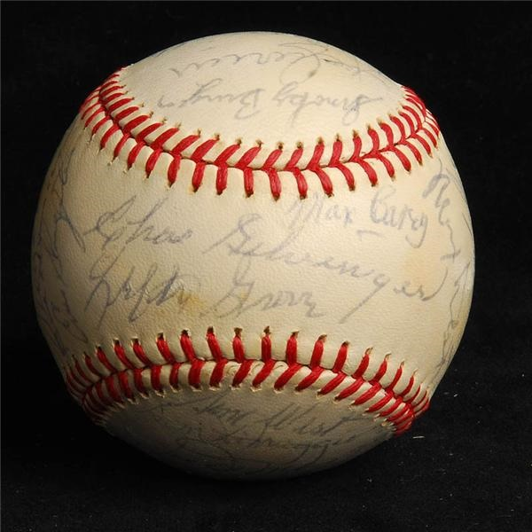 1970s Old Timers Signed Baseball w/ Joe Dimaggio 28 Sigs