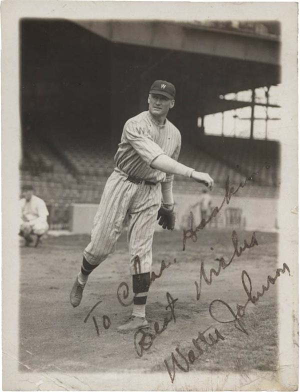 Vintage Walter Johnson Signed Baseball News Service Photo