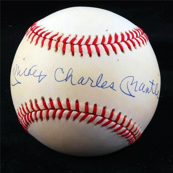 Mickey Charles Mantle Single Signed Baseball