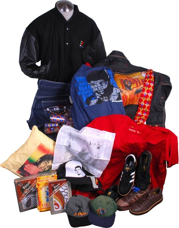 Large Muhammad Ali Endorsed Clothing, Silk Tie and Shoe Collection