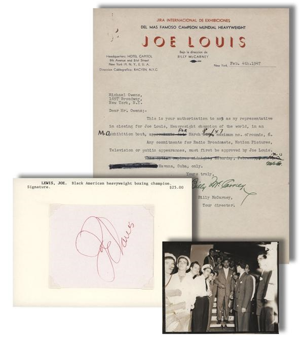 Joe Louis Boxing Memorabilia Lot with Signed Cut (3)