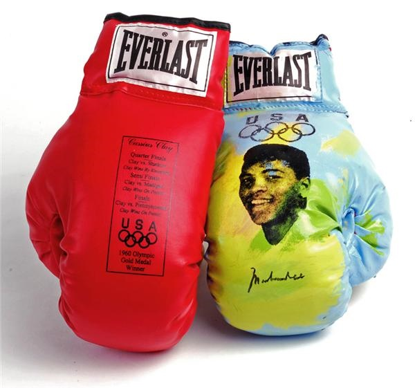 Two Cassius Clay Olympic Gloves with One Hand Painted and Signed