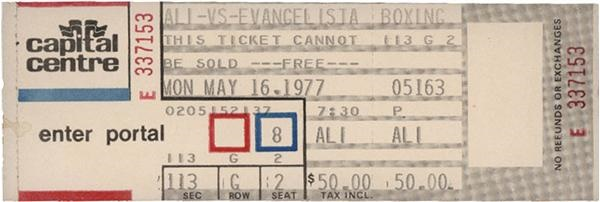 1977 Ali vs. Evangelista Full Ticket