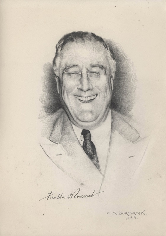 President Franklin Roosevelt Original Pencil Artwork by Burbank (1934)