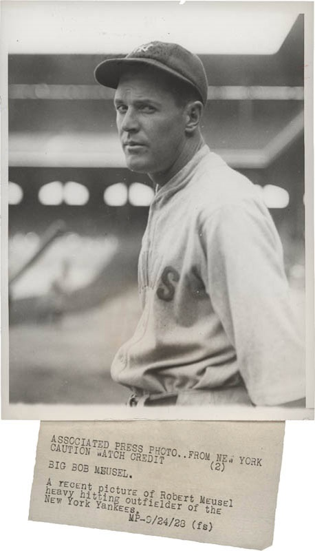 Bob Meusel 1927 Yankees Member Wire Photos (2)