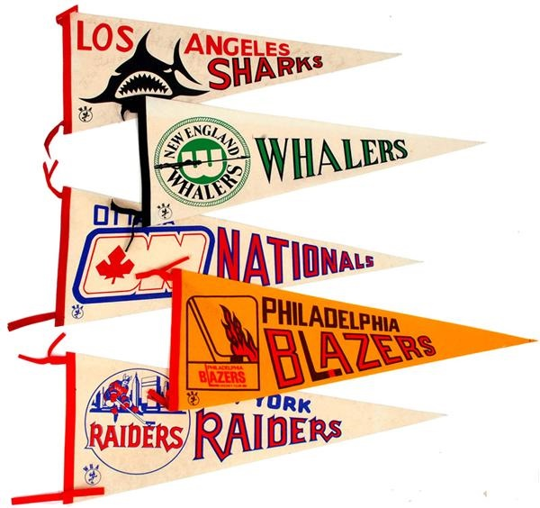 Collection of 1970's WHA Pennants (5)