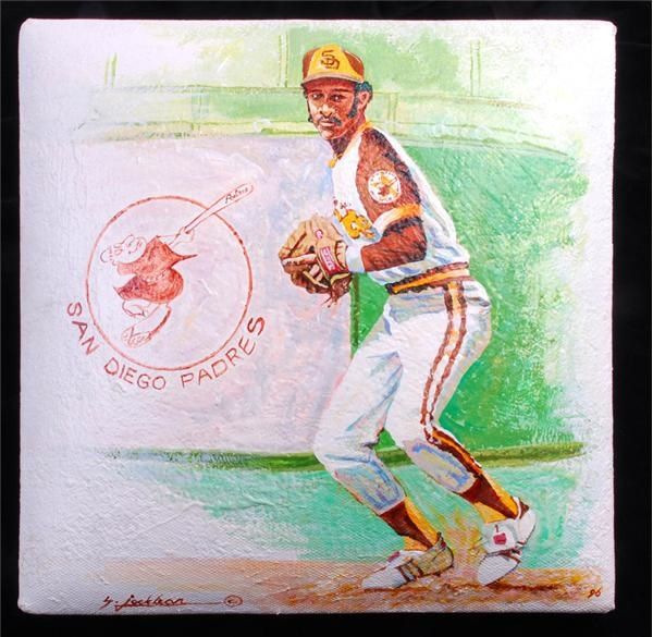 Ozzie Smith Hand Painted Stolen Base