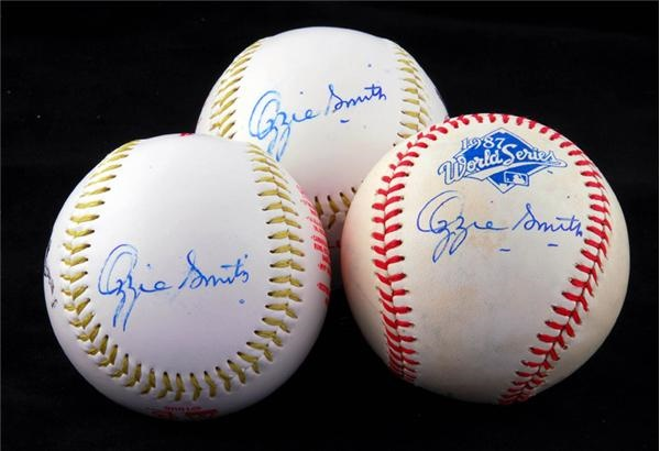 Three Signed Baseballs From The Ozzie Smith Collection