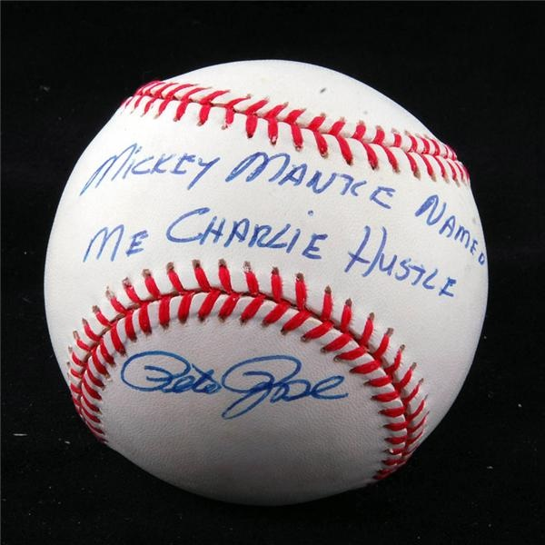"Pete Rose Signed ""Mickey Mantle Named Me Charlie Hustle"" Baseball"