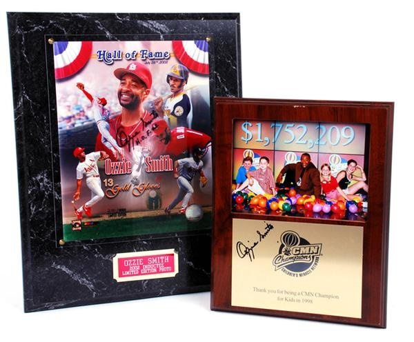 Ozzie Smiths Personally Owned and Signed Plaques Children Miracle Network and 2002 Limited Edition Inductee Plaque