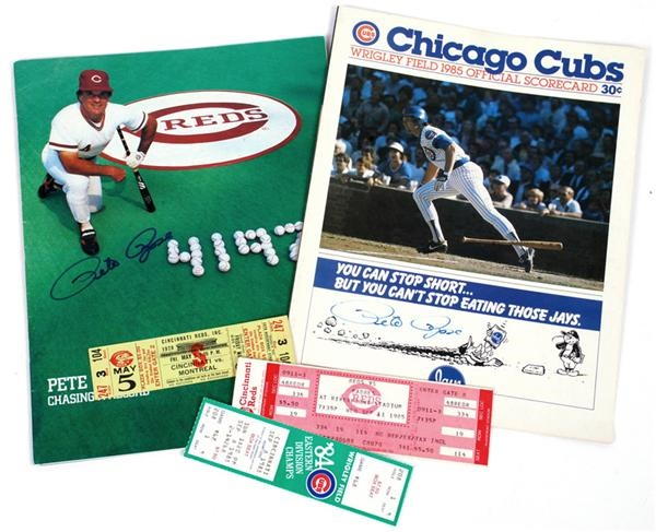 Pete Rose Significant Game Tickets and Programs (5)