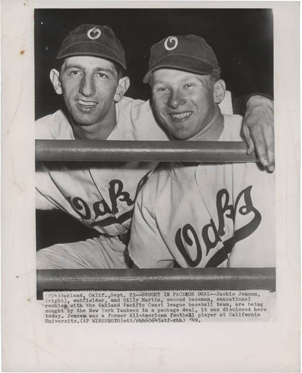 Billy Martin and Jackie Jensen with PCL Oakland Oaks Wire Photo (1949)