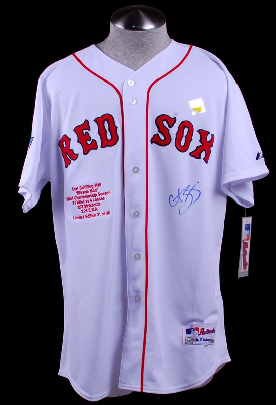 Curt Schilling Signed World Series Red Sox Baseball Stat Jersey Ltd.