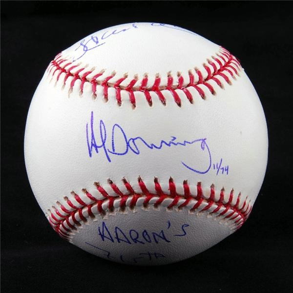 Hank Aaron & Al Downing Ltd. Ed. Signed 715th Baseball STEINER