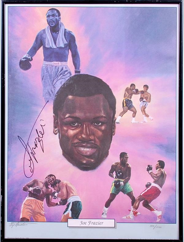 Joe Frazier and Larry Holmes Signed Boxing Prints (3)