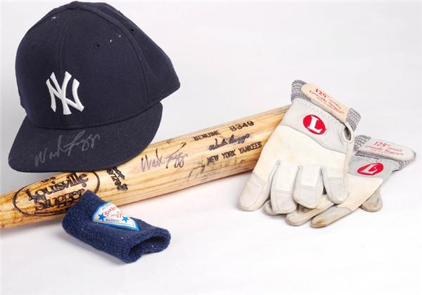 Wade Boggs Game Used New York Yankee Bat, Hat (Yankee LOA ), Batting Gloves and Wristband