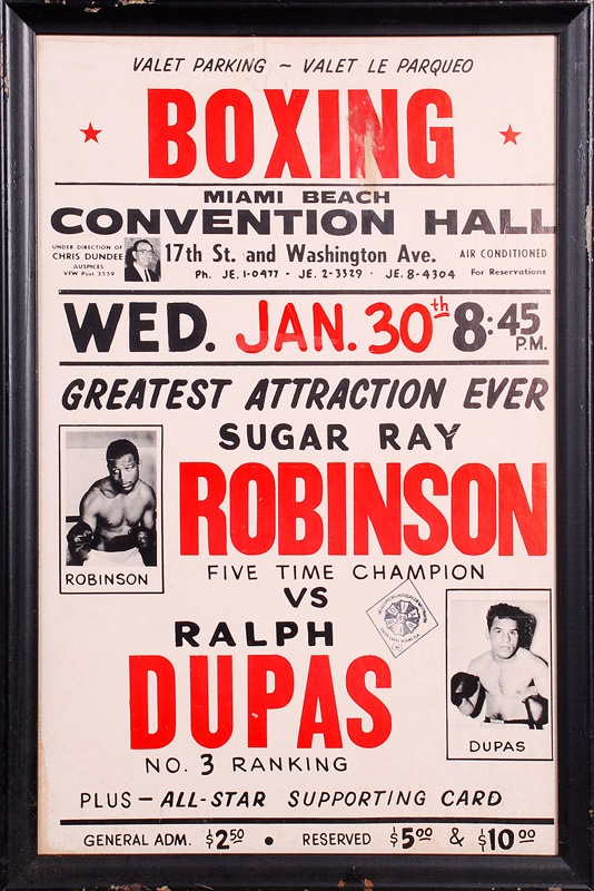 1963 Sugar Ray Robinson vs. Ralph Dupas On Site Fight Poster