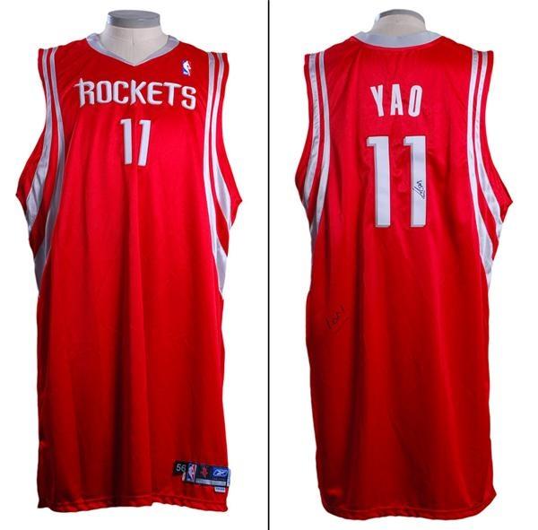 the latest fe5e5 c3e2b 2004 - 2005 Yao Ming Signed Game Used Houston Rockets Game ...