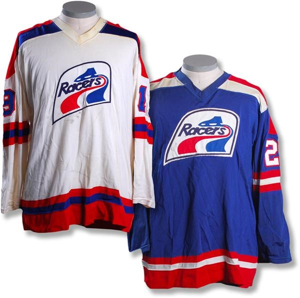 6a2e84b34 1976-77 Nick Harbaruk & Frank Rochon Indianapolis Racers WHA Game Worn  Jerseys (2)