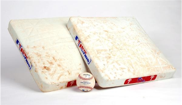 (3) Phillies 10,000th Loss Game Used Bases and Ball