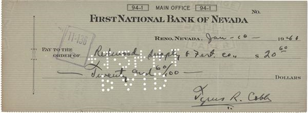 Ty Cobb Signed Check (1941)