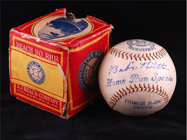 Babe Ruth Home Run Special Baseball with Original Picture Box