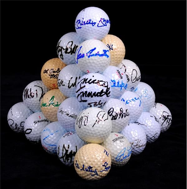 Large Collection of Signed Golf Balls with PGA, Sports and Celebrity Stars w/ Mickey Mantle