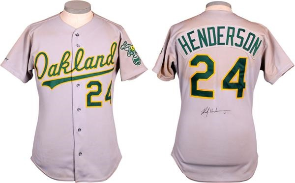 1991 Rickey Henderson Autographed Oakland A's Game Used Jersey