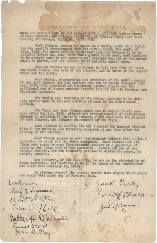 1912 Jack Johnson and Jim Flynn Signed Fight Contract-The Only Known Johnson Fight Contract
