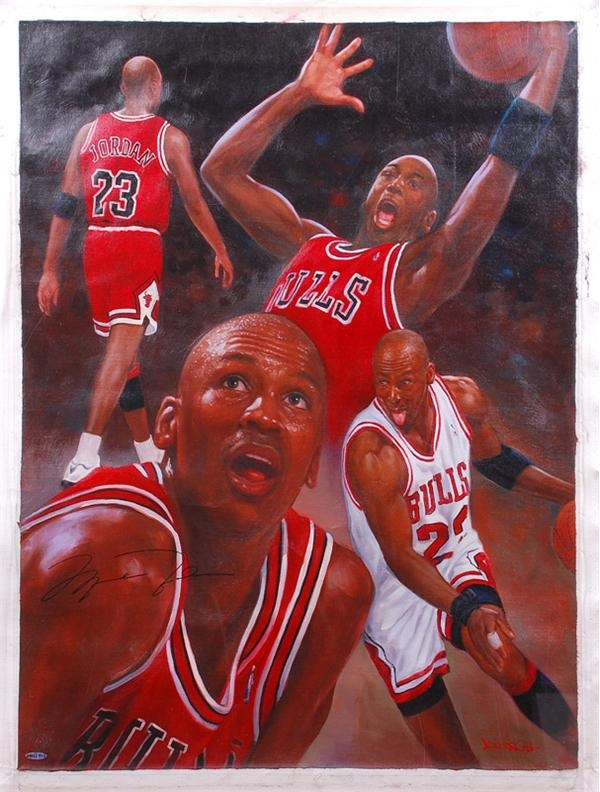 best service 92da6 ea0b8 Michael Jordan Signed Original Painting UDA