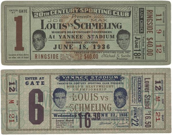 1936 and 1938 Joe Louis vs Max Schmeling Full Tickets (2)