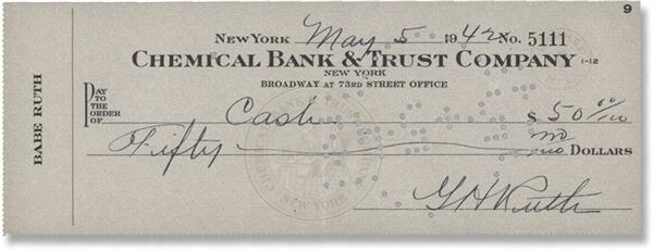 Babe Ruth Signed Check (1942)