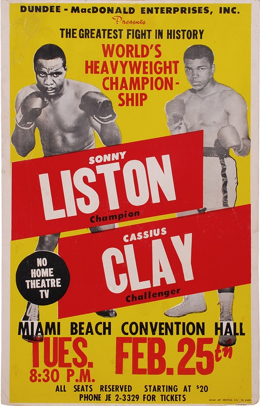 Muhammad Ali Vs Sonny Liston boxing fight sport poster