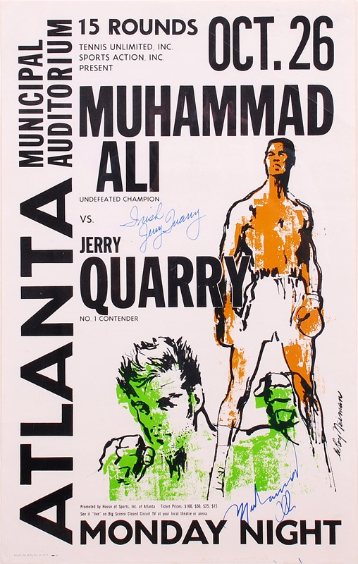 1970 Muhammad Ali vs. Jerry Quarry On-Site Fight Poster Signed by Both