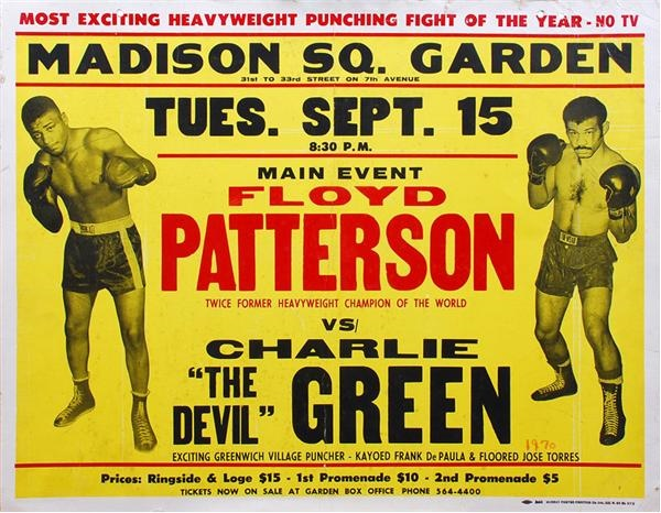 1970 Floyd Patterson vs. Charlie Green On-Site Fight Poste