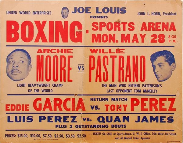 1962 Archie Moore vs. Willie Pastrano On-Site Fight Poster